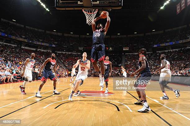 Andre Drummond of USA Blue goes up for a dunk against USA White during the Team USA Basketball Showcase on August 13 2015 at the Thomas Mack Center...