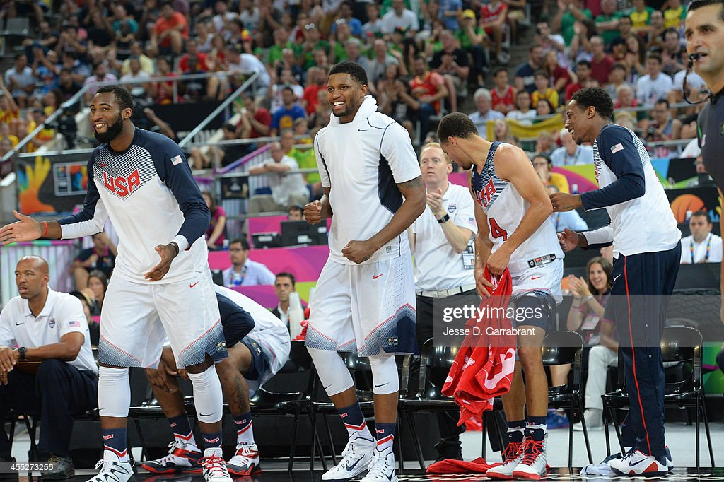 Andre Drummond Rudy Gay of the USA Basketball Men's National Team cheers against the Lithuania National Team during the 2014 FIBA World Cup...