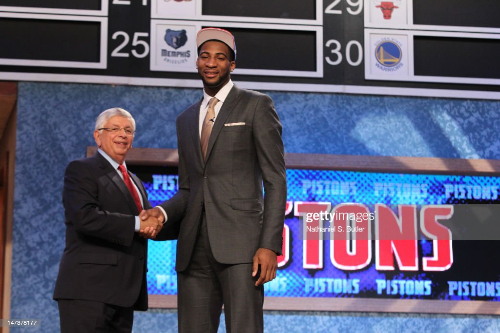 <a gi-track='captionPersonalityLinkClicked' href=/galleries/search?phrase=Andre+Drummond&family=editorial&specificpeople=7122456 ng-click='$event.stopPropagation()'>Andre Drummond</a> shakes hands with NBA Commissioner <a gi-track='captionPersonalityLinkClicked' href=/galleries/search?phrase=David+Stern&family=editorial&specificpeople=206848 ng-click='$event.stopPropagation()'>David Stern</a> after being selected number nine overall by the Detroit Pistons during the 2012 NBA Draft at the Prudential Center on June 28, 2012 in Newark, New Jersey.