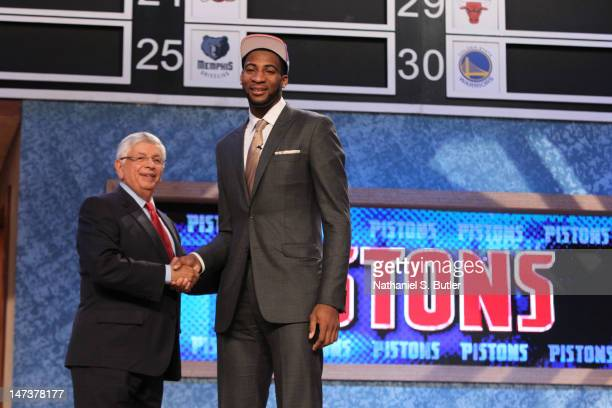 Andre Drummond shakes hands with NBA Commissioner David Stern after being selected number nine overall by the Detroit Pistons during the 2012 NBA...