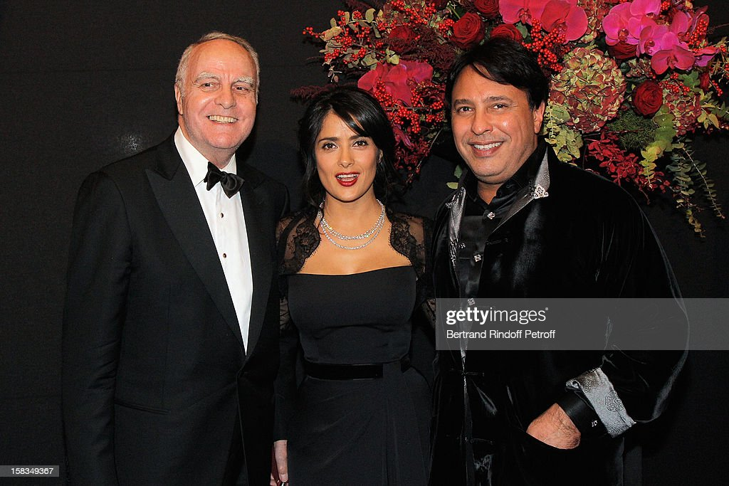 Andre Dunstetter, Arop Gala Event President actress <a gi-track='captionPersonalityLinkClicked' href=/galleries/search?phrase=Salma+Hayek&family=editorial&specificpeople=201844 ng-click='$event.stopPropagation()'>Salma Hayek</a> and Prince Mubarak Fahd S. Al Sabah attend the Arop Gala event for Carmen new production launch at Opera Bastille on December 13, 2012 in Paris, France.