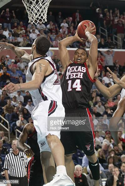 Andre Emmett of the Texas Tech University Red Raiders shoots against the St Joseph's University Hawks during the second round of the NCAA Men's...