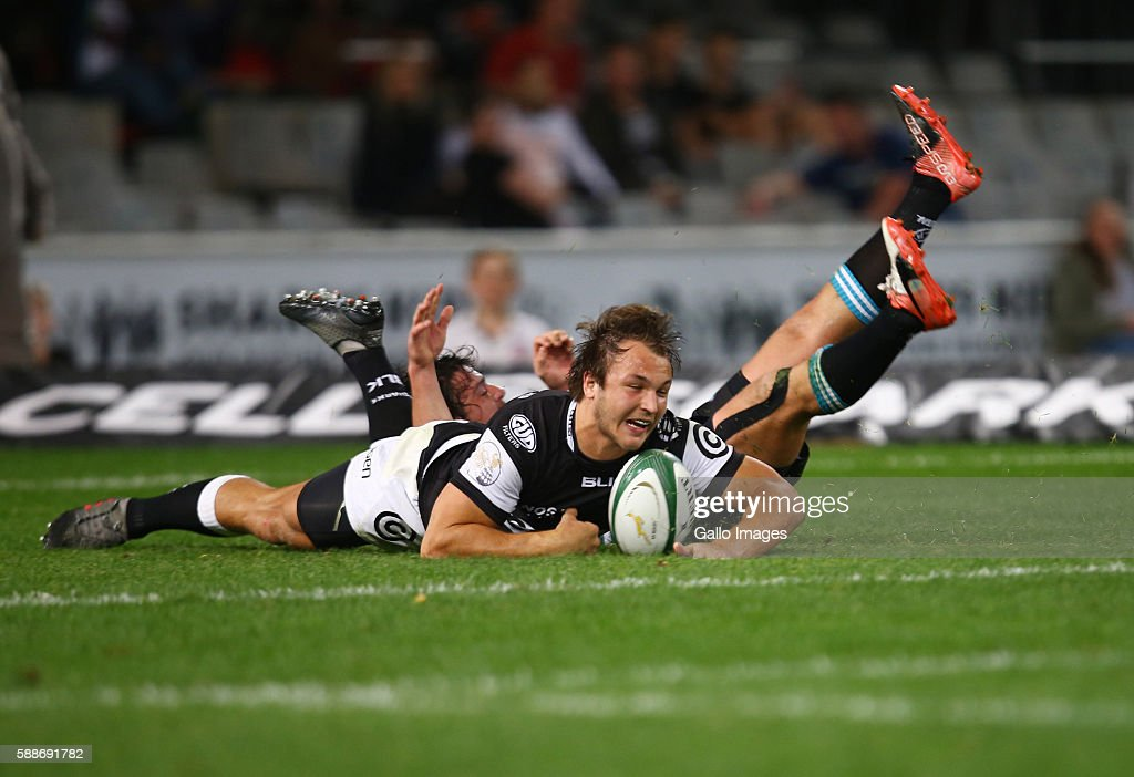 Andre Esterhuizen of the Cell C Sharks over for a try during the Currie Cup match between Cell C Sharks XV and Griquas at Growthpoint Kings Park on...