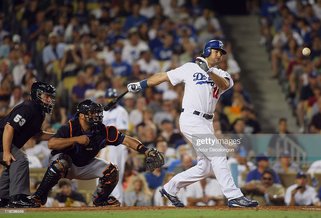 <a gi-track='captionPersonalityLinkClicked' href=/galleries/search?phrase=Andre+Ethier&family=editorial&specificpeople=543213 ng-click='$event.stopPropagation()'>Andre Ethier</a> #16 of the Los Angeles Dodgers bats during the MLB game against the New York Mets at Dodger Stadium on July 7, 2011 in Los Angeles, California. The Dodgers defeated the Mets 6-0.