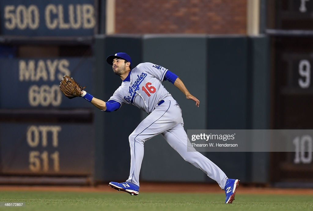 <a gi-track='captionPersonalityLinkClicked' href=/galleries/search?phrase=Andre+Ethier&family=editorial&specificpeople=543213 ng-click='$event.stopPropagation()'>Andre Ethier</a> #16 of the Los Angeles Dodgers catches a fly ball off the bat of Pablo Sandoval #48 of the San Francisco Giants (not pictured) in the bottom of the fifth inning at AT&T Park on April 16, 2014 in San Francisco, California.
