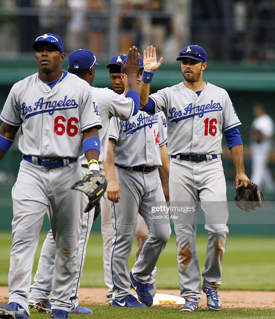 <a gi-track='captionPersonalityLinkClicked' href=/galleries/search?phrase=Andre+Ethier&family=editorial&specificpeople=543213 ng-click='$event.stopPropagation()'>Andre Ethier</a> #16 of the Los Angeles Dodgers celebrates after defeating the Pirates in extra inning on June 15, 2013 at PNC Park in Pittsburgh, Pennsylvania. The Dodgers defeated the Pirates 5-3.