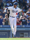 Andre Ethier of the Los Angeles Dodgers celebrates between third base and home after hitting a walk off two run home in the tenth inning against the...