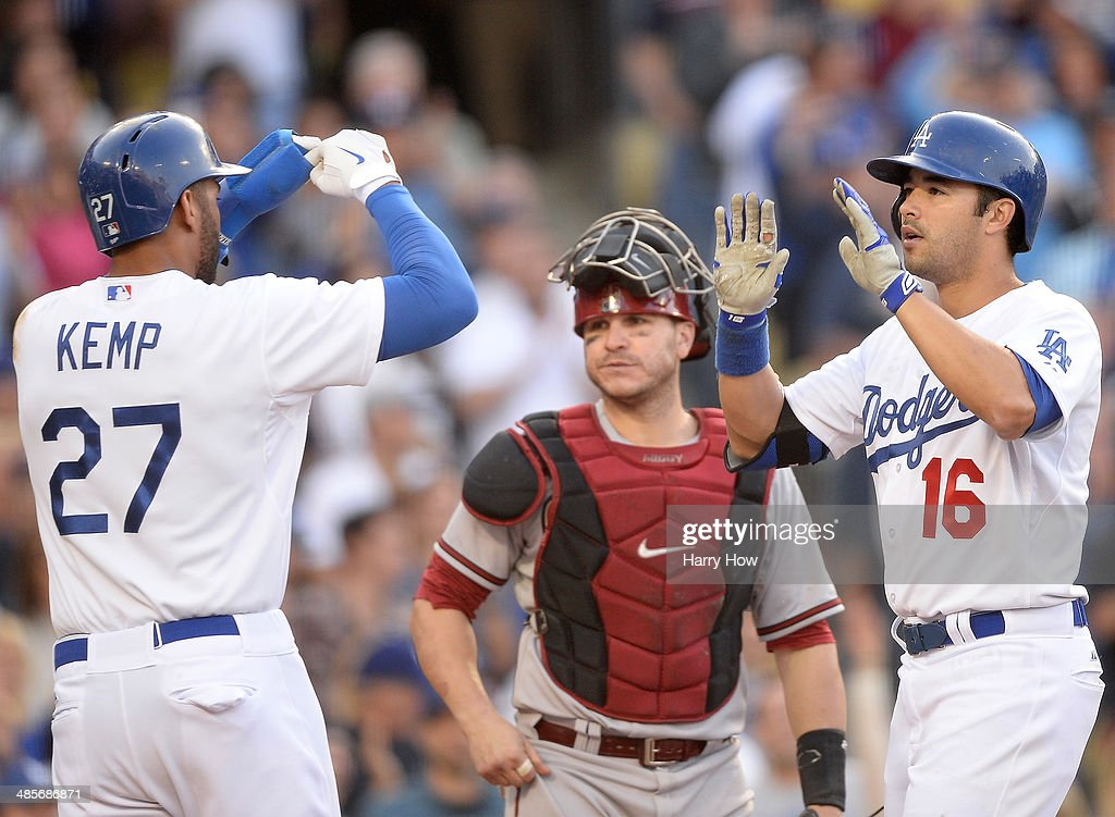 Andre Ethier #16 of the Los Angeles Dodgers celebrates his three run homerun with Matt Kemp #27 in front of Miguel Montero #26 of the Arizona Diamondbacks during the fourth inning at Dodger Stadium on April 19, 2014 in Los Angeles, California.