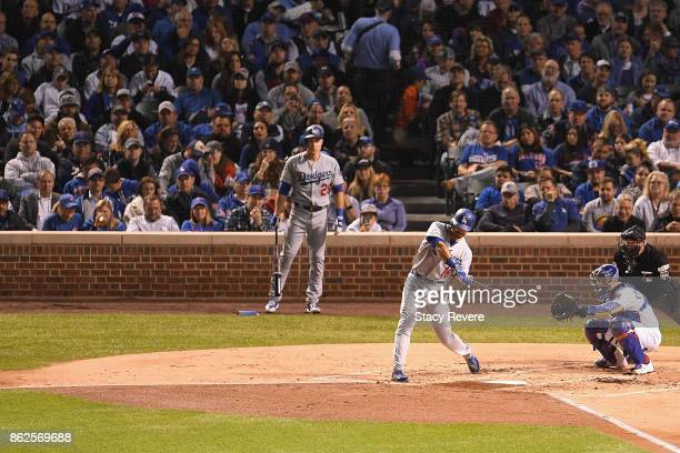 Andre Ethier of the Los Angeles Dodgers hits a home run in the second inning against the Chicago Cubs during game three of the National League...