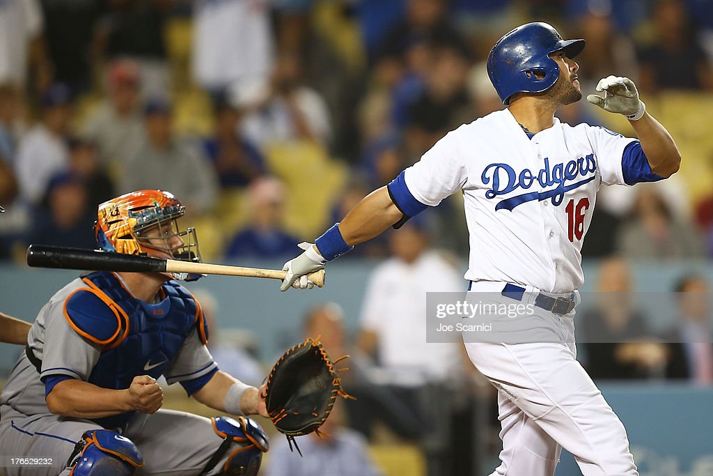 <a gi-track='captionPersonalityLinkClicked' href=/galleries/search?phrase=Andre+Ethier&family=editorial&specificpeople=543213 ng-click='$event.stopPropagation()'>Andre Ethier</a> #16 of the Los Angeles Dodgers hits a two run home run in the ninth inning to tie the game against the New York Mets at Dodger Stadium on August 14, 2013 in Los Angeles, California.