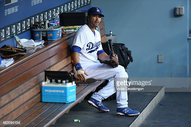 Andre Ethier of the Los Angeles Dodgers looks on from the dugout prior to the MLB game against the Arizona Diamondbacks at Dodger Stadium on June 14...