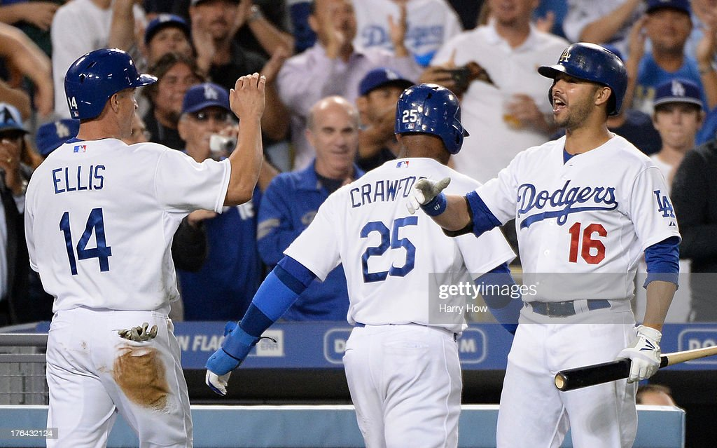<a gi-track='captionPersonalityLinkClicked' href=/galleries/search?phrase=Andre+Ethier&family=editorial&specificpeople=543213 ng-click='$event.stopPropagation()'>Andre Ethier</a> #16 of the Los Angeles Dodgers reacts after runs from <a gi-track='captionPersonalityLinkClicked' href=/galleries/search?phrase=Carl+Crawford&family=editorial&specificpeople=208074 ng-click='$event.stopPropagation()'>Carl Crawford</a> #25 and <a gi-track='captionPersonalityLinkClicked' href=/galleries/search?phrase=Mark+Ellis+-+Baseball+Player&family=editorial&specificpeople=213759 ng-click='$event.stopPropagation()'>Mark Ellis</a> #14 to tie the score 2-2 with the New York Mets during the sixth inning at Dodger Stadium on August 12, 2013 in Los Angeles, California.
