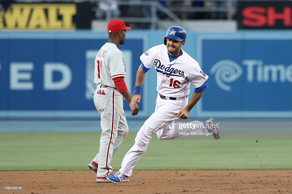<a gi-track='captionPersonalityLinkClicked' href=/galleries/search?phrase=Andre+Ethier&family=editorial&specificpeople=543213 ng-click='$event.stopPropagation()'>Andre Ethier</a> #16 of the Los Angeles Dodgers rounds second base in the second inning during the MLB game against the Philadelphia Phillies at Dodger Stadium on July 17, 2012 in Los Angeles, California. The Phillies defeated the Dodgers 3-2.
