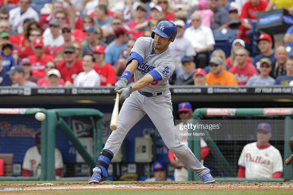 <a gi-track='captionPersonalityLinkClicked' href=/galleries/search?phrase=Andre+Ethier&family=editorial&specificpeople=543213 ng-click='$event.stopPropagation()'>Andre Ethier</a> #16 of the Los Angeles Dodgers singles during a game against the Philadelphia Phillies at Citizens Bank Park on May 24, 2014 in Philadelphia, Pennsylvania. The Phillies won 5-3.