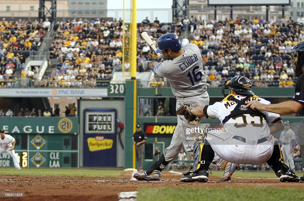 <a gi-track='captionPersonalityLinkClicked' href=/galleries/search?phrase=Andre+Ethier&family=editorial&specificpeople=543213 ng-click='$event.stopPropagation()'>Andre Ethier</a> #16 of the Los Angeles Dodgers singles in the third inning advancing two runners against hte Pittsburgh Pirates during the game on August 15, 2012 at PNC Park in Pittsburgh, Pennsylvania.