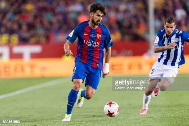 Andre Filipe Tavares Gomes of FC Barcelona during the Copa Del Rey Final between FC Barcelona and Deportivo Alaves at Vicente Calderon Stadium on May...