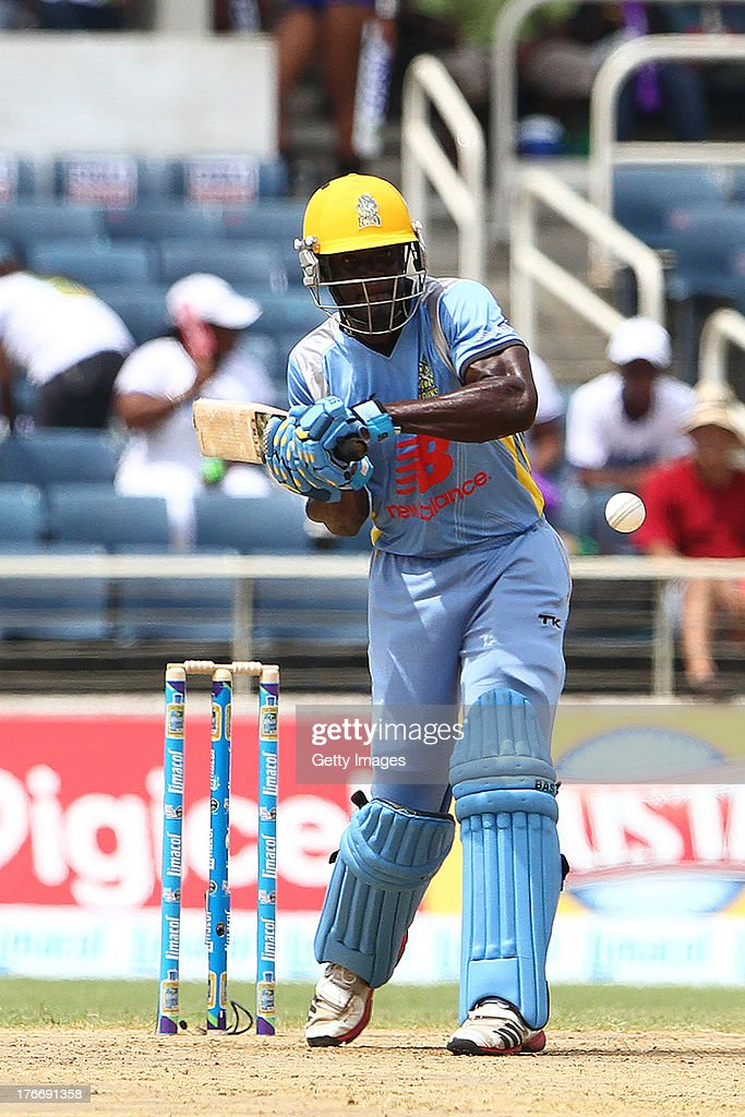 Andre Fletcher during the Eighteenth Match of the Cricket Caribbean Premier League between St. Lucia Zouks v Trinidad and Tobago Red Steel at Sabina Park on August 17, 2013 in Kingston, Jamaica.
