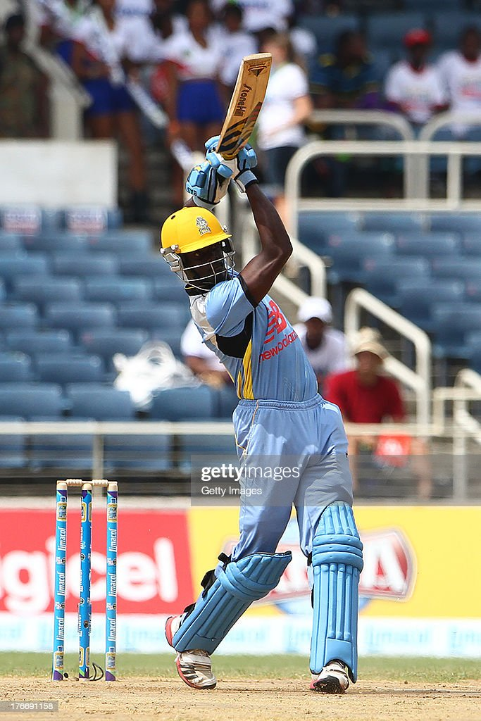 Andre Fletcher of the St Lucia Zouks hits down the ground during the Eighteenth Match of the Cricket Caribbean Premier League between St. Lucia Zouks v Trinidad and Tobago Red Steel at Sabina Park on August 17, 2013 in Kingston, Jamaica.