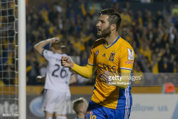 Andre Gignac of Tigres celebrates after Kendall Waston of Vancouver scored an own goal during the semifinals first leg match between Tigres UANL and...