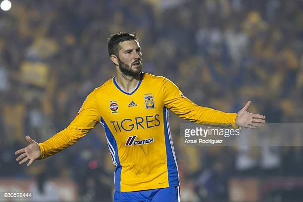Andre Gignac of Tigres celebrates after scoring a penalty during the Final second leg match between Tigres UANL and America as part of the Torneo...