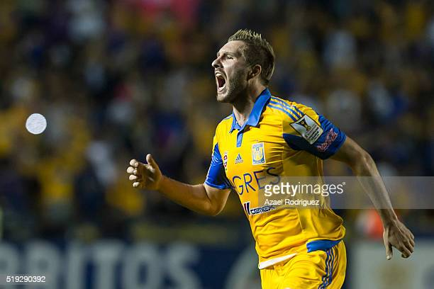 Andre Gignac of Tigres celebrates after scoring his team's first goal during the semifinals second leg match between Tigres UANL and Queretaro as...