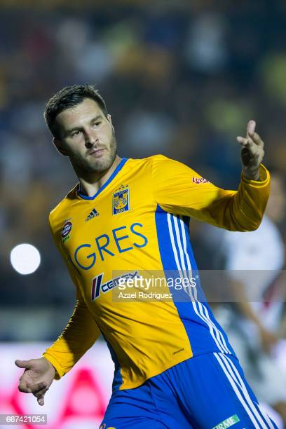 Andre Gignac of Tigres celebrates after scoring his team's first goal during the match between Tigres and Chivas as part of the Clausura 2017 Liga MX...