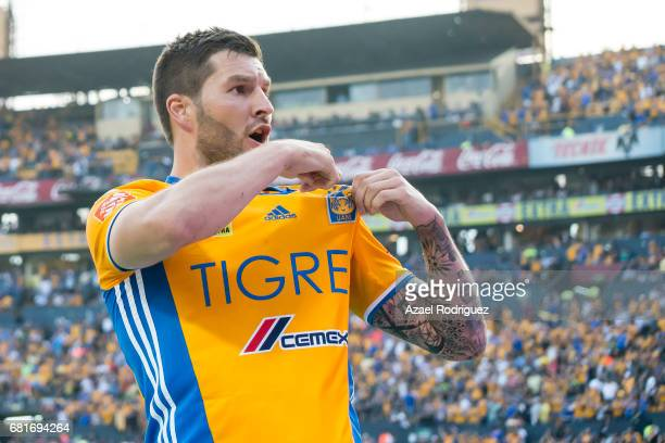 Andre Gignac of Tigres celebrates after scoring his team's first goal during the quarter finals first leg match between Tigres UANL and Monterrey as...