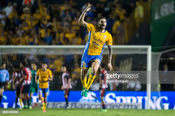 Andre Gignac of Tigres celebrates after scoring his team's first goal during the Final first leg match between Tigres UANL and Chivas as part of the...