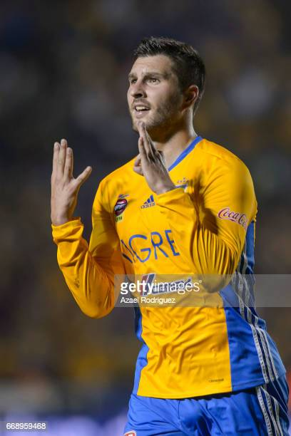 Andre Gignac of Tigres celebrates after scoring his team's fourth goal during the 14th round match between Tigres UANL and Pumas UNAM as part of the...