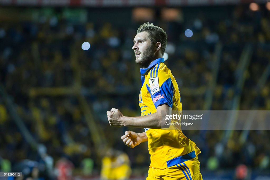 Andre Gignac of Tigres celebrates after scoring his team's second goal during the semifinals second leg match between Tigres UANL and Queretaro as...