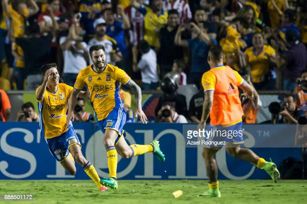 Andre Gignac of Tigres celebrates after scoring his team's second goal during the Final first leg match between Tigres UANL and Chivas as part of the...