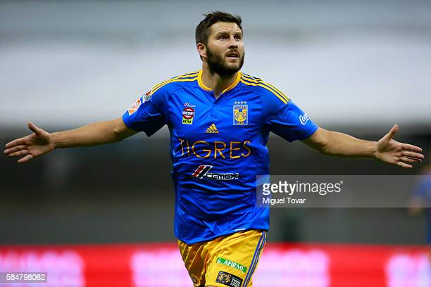 Andre Gignac of Tigres celebrates after scoring the second goal of his team during the 3rd round match between America and Tigres UANL as part of the...