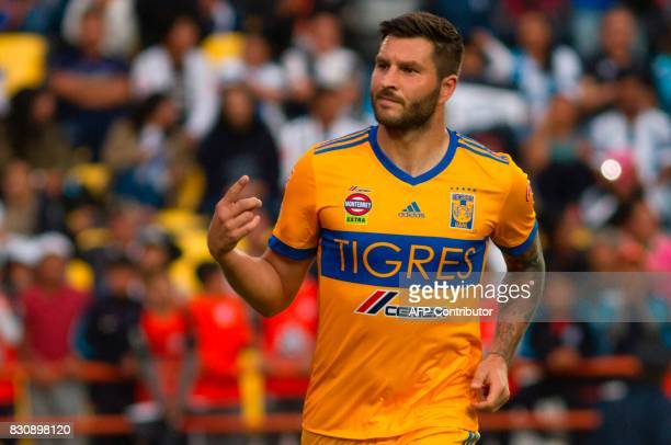 Andre Gignac of Tigres celebrates his goal against Pachuca during their Mexican Apertura 2017 Tournament football match at Hidalgo stadium on August...