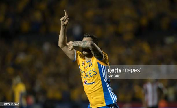 Andre Gignac of Tigres celebreates after scoring his team's second goal during the Final first leg match between Tigres UANL and Chivas as part of...