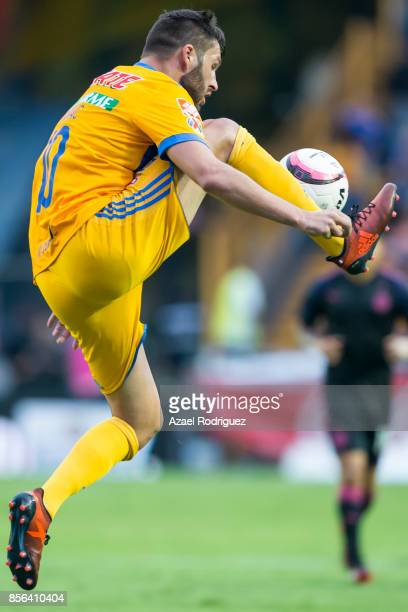 Andre Gignac of Tigres controls the ball during the 12th round match between Tigres UANL and Chivas as part of the Torneo Apertura 2017 Liga MX at...
