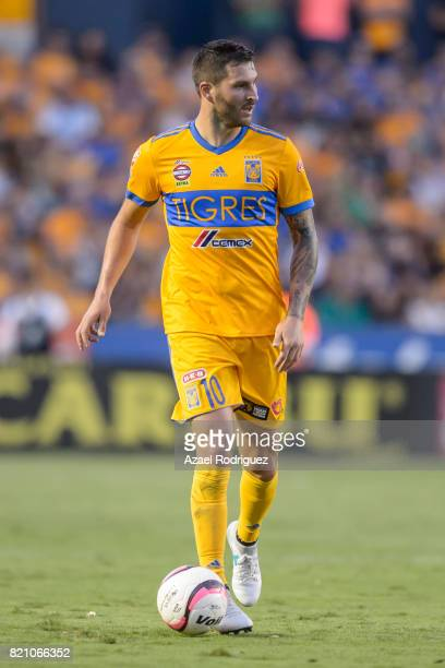 Andre Gignac of Tigres controls the ball during the 1st round match between Tigres UANL and Puebla as part of the Torneo Apertura 2017 Liga MX at...