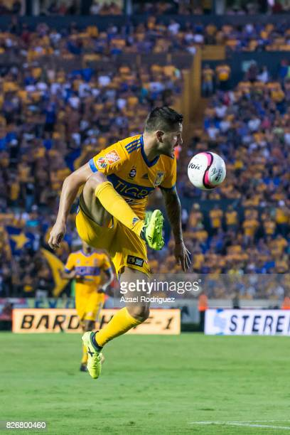 Andre Gignac of Tigres controls the ball during the 3rd round match between Tigres UANL and Puebla as part of the Torneo Apertura 2017 Liga MX at...