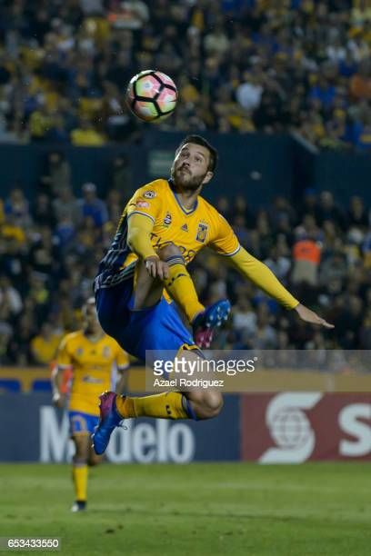 Andre Gignac of Tigres controls the ball during the semifinals first leg match between Tigres UANL and Vancouver Whitecaps as part of the CONCACAF...