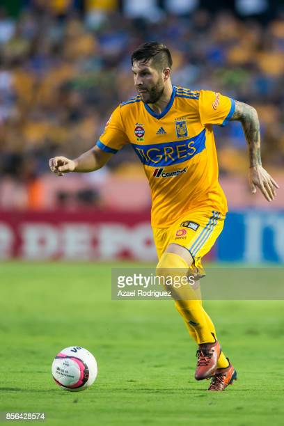 Andre Gignac of Tigres drives the ball during the 12th round match between Tigres UANL and Chivas as part of the Torneo Apertura 2017 Liga MX at...