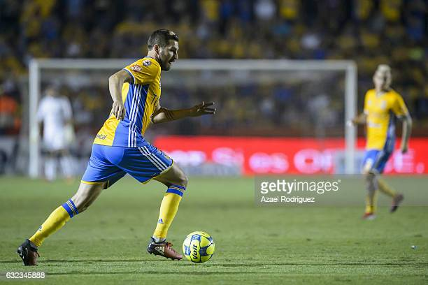 Andre Gignac of Tigres drives the ball during the 3rd round match between Tigres UANL and America as part of the Torneo Clausura 2017 Liga MX at...