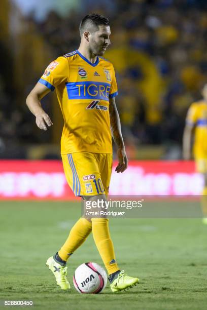 Andre Gignac of Tigres drives the ball during the 3rd round match between Tigres UANL and Puebla as part of the Torneo Apertura 2017 Liga MX at...