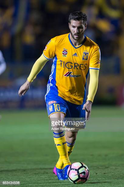 Andre Gignac of Tigres drives the ball during the semifinals first leg match between Tigres UANL and Vancouver Whitecaps as part of the CONCACAF...