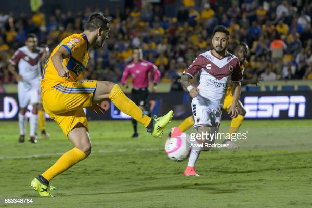 Andre Gignac of Tigres fights for the ball with Osmar Mares of Veracruz during the 10th round match between Tigres UANL and Veracruz as part of the...
