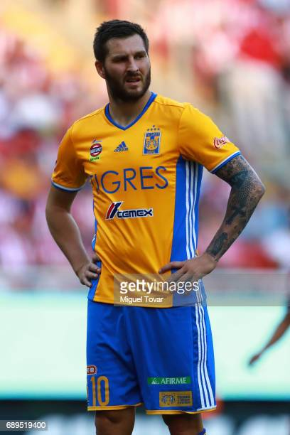 Andre Gignac of Tigres gestures during the Final second leg match between Chivas and Tigres UANL as part of the Torneo Clausura 2017 Liga MX at...