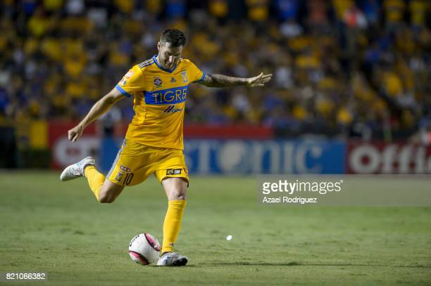 Andre Gignac of Tigres kicks the ball during the 1st round match between Tigres UANL and Puebla as part of the Torneo Apertura 2017 Liga MX at...