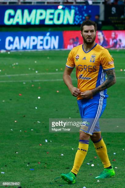 Andre Gignac of Tigres reacts after a defeat during the Final second leg match between Chivas and Tigres UANL as part of the Torneo Clausura 2017...