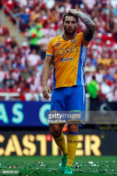 Andre Gignac of Tigres reacts after a defeat in the Final second leg match between Chivas and Tigres UANL as part of the Torneo Clausura 2017 Liga MX...