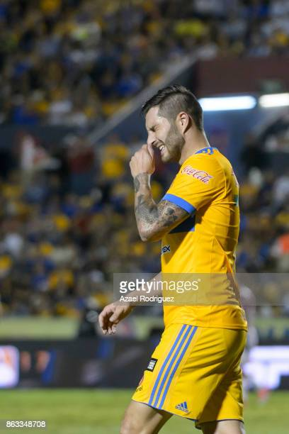 Andre Gignac of Tigres reacts during the 10th round match between Tigres UANL and Veracruz as part of the Torneo Apertura 2017 Liga MX at...