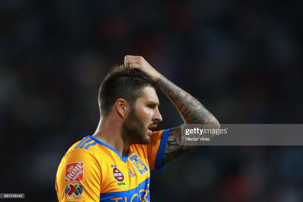 Andre Gignac of Tigres reacts during the 4th round match between Pachuca and Tigres UANL as part of the Torneo Apertura 2017 Liga MX at Hidalgo Stadium on August 12, 2017 in Pachuca, Mexico.