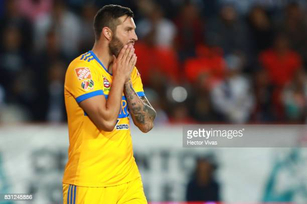 Andre Gignac of Tigres reacts during the 4th round match between Pachuca and Tigres UANL as part of the Torneo Apertura 2017 Liga MX at Hidalgo...
